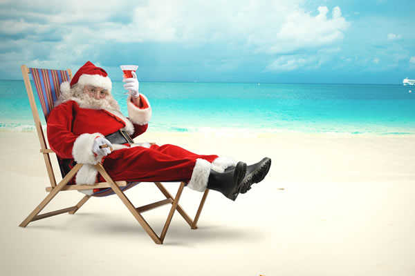 Santa resting on the beach in Port Macquarie